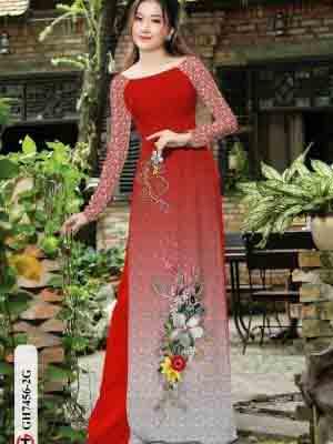 Vải áo dài hoa in 3D AD GH7456 20