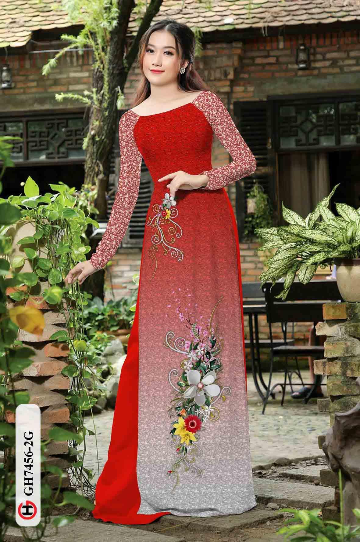 Vải áo dài hoa in 3D AD GH7456 35