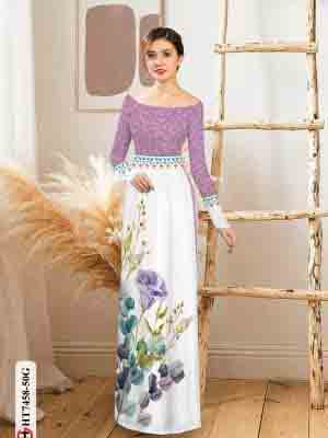 Vải áo dài hoa in 3D AD HT7458 24