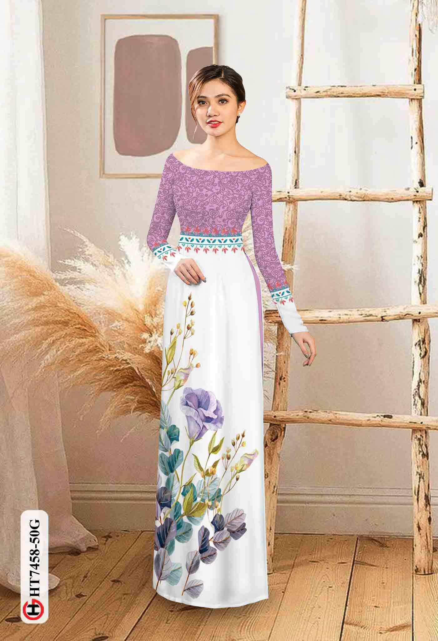 Vải áo dài hoa in 3D AD HT7458 38