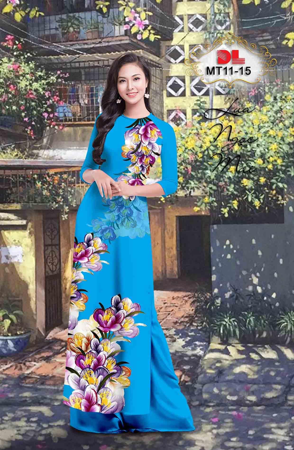 Vải Áo Dài Hoa In 3D AD MT11 51