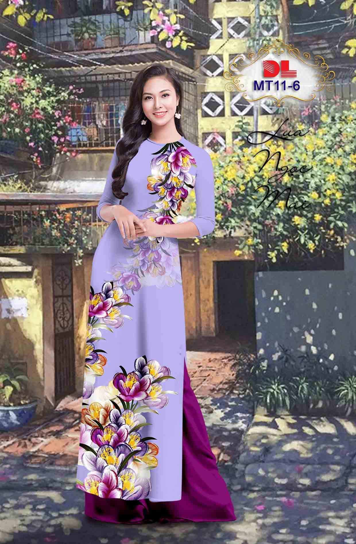 Vải Áo Dài Hoa In 3D AD MT11 45