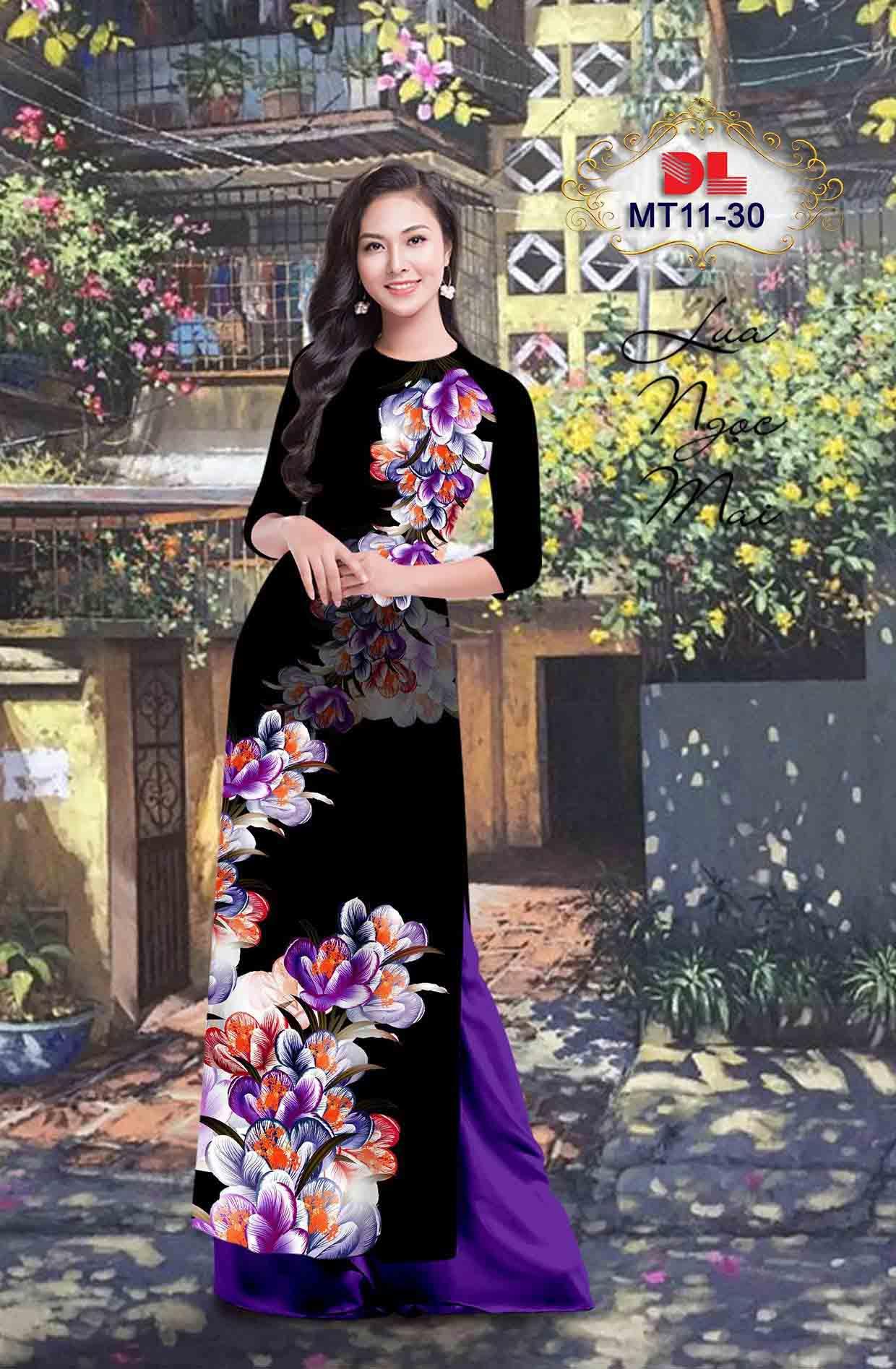 Vải Áo Dài Hoa In 3D AD MT11 39
