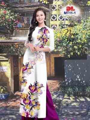 Vải Áo Dài Hoa In 3D AD MT11 21