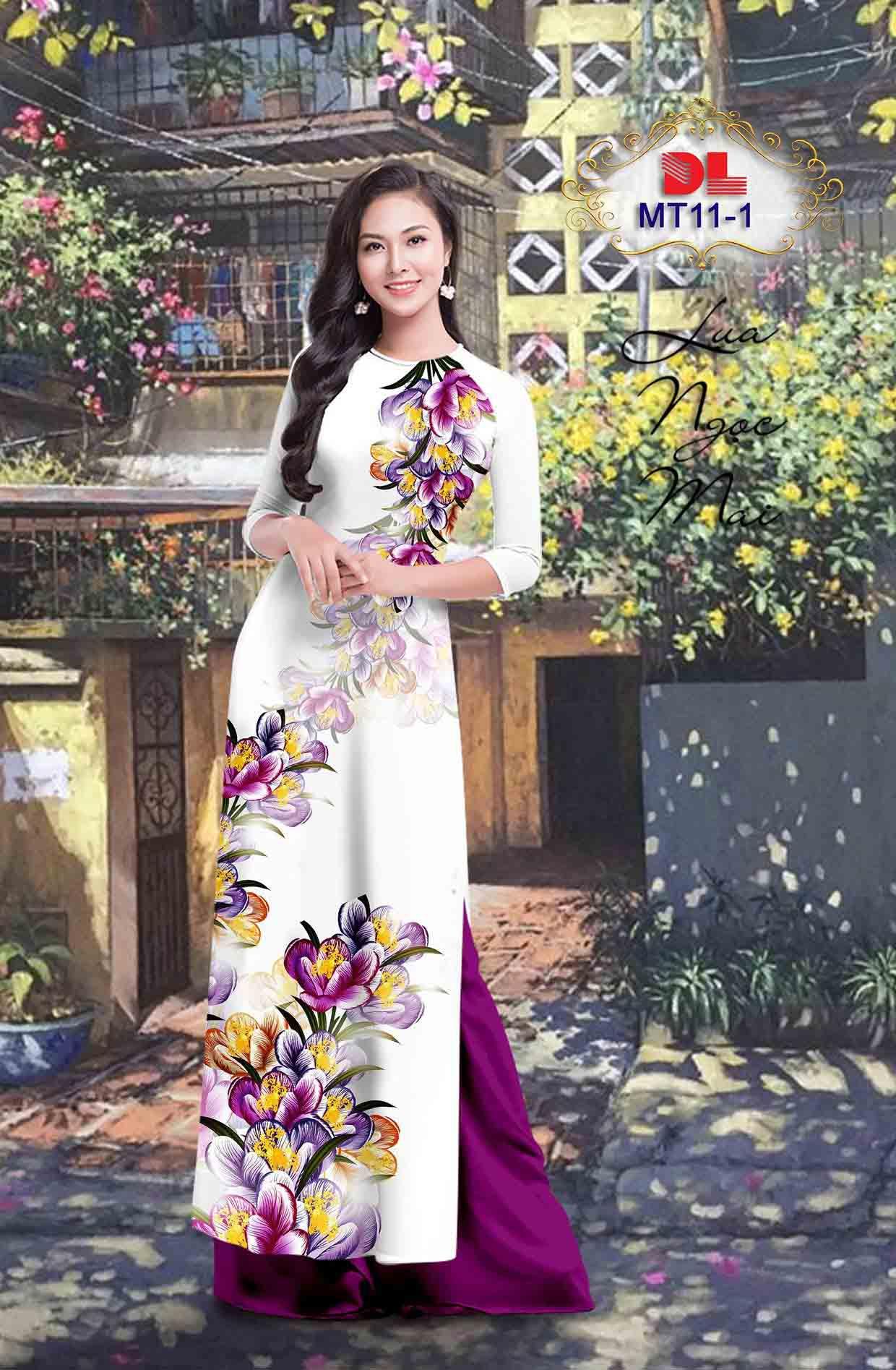 Vải Áo Dài Hoa In 3D AD MT11 40