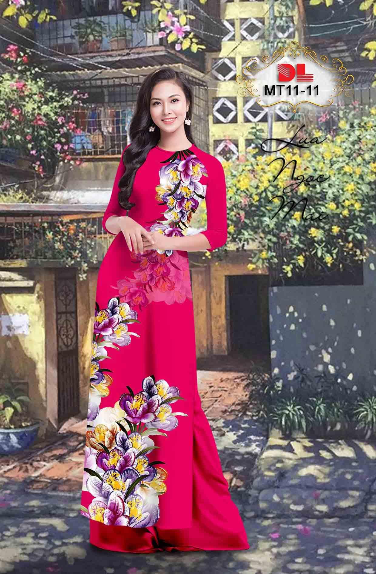 Vải Áo Dài Hoa In 3D AD MT11 49