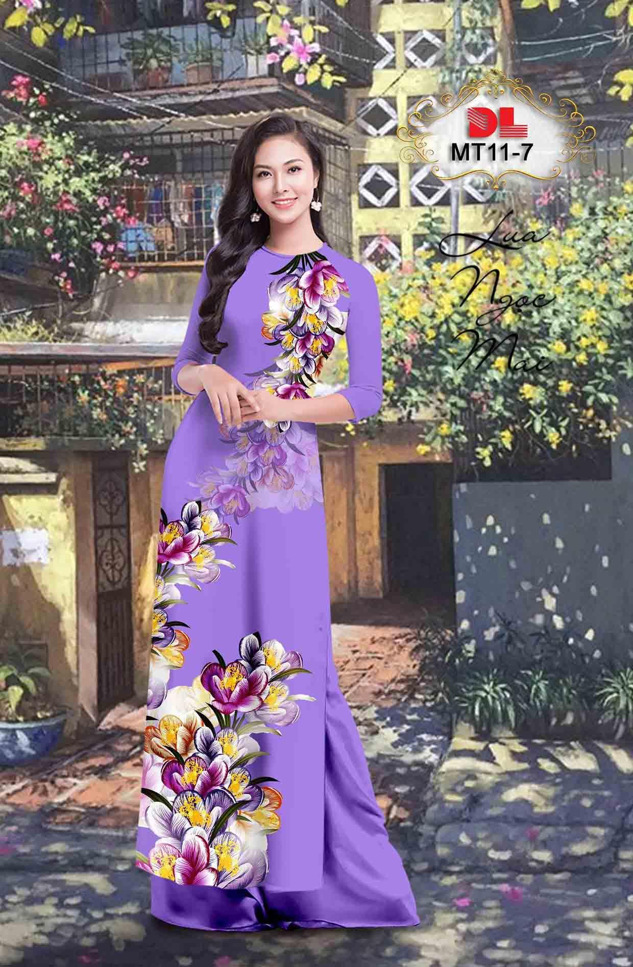 Vải Áo Dài Hoa In 3D AD MT11 46