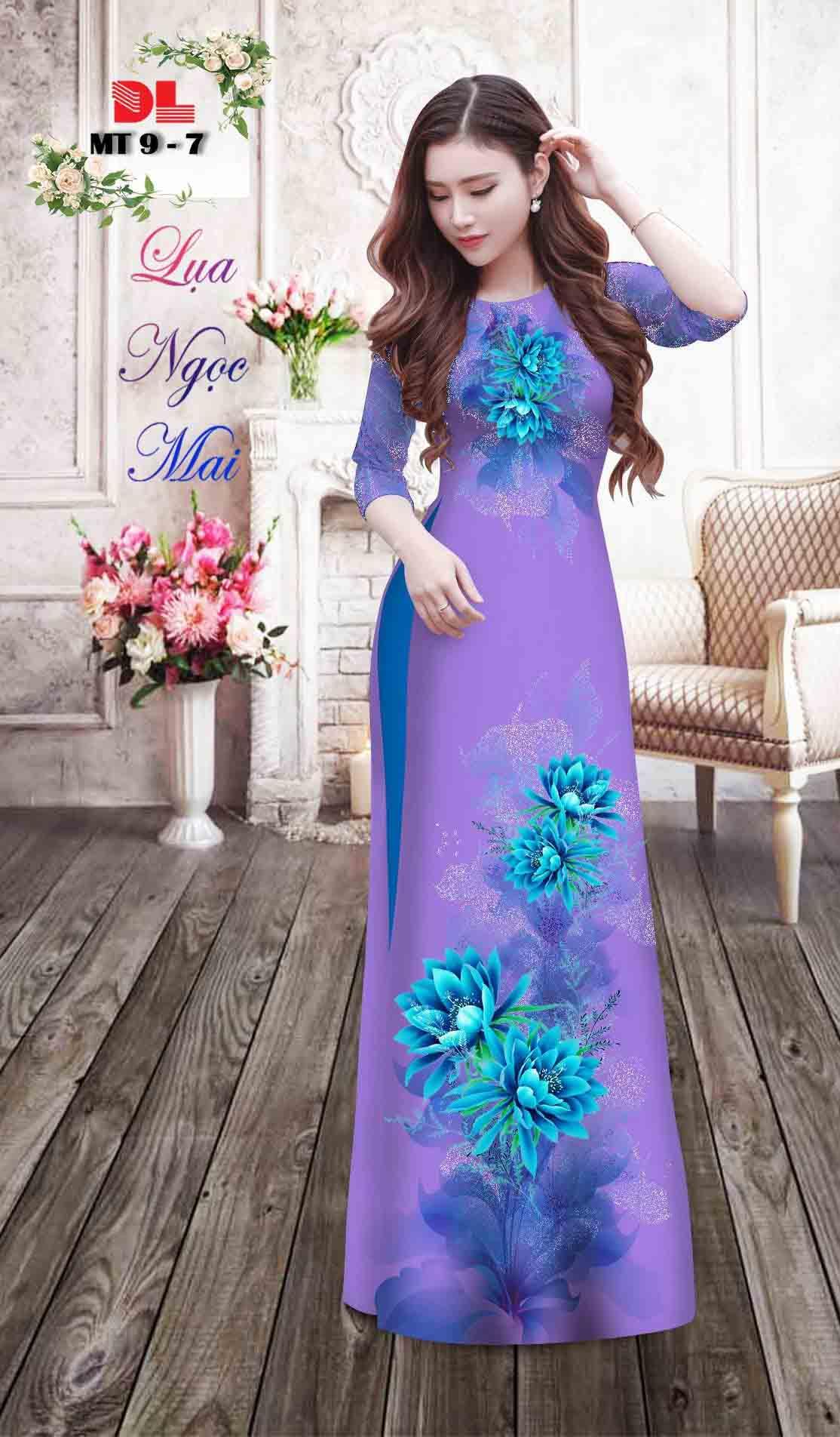 Vải Áo Dài Hoa In 3D AD MT9 37