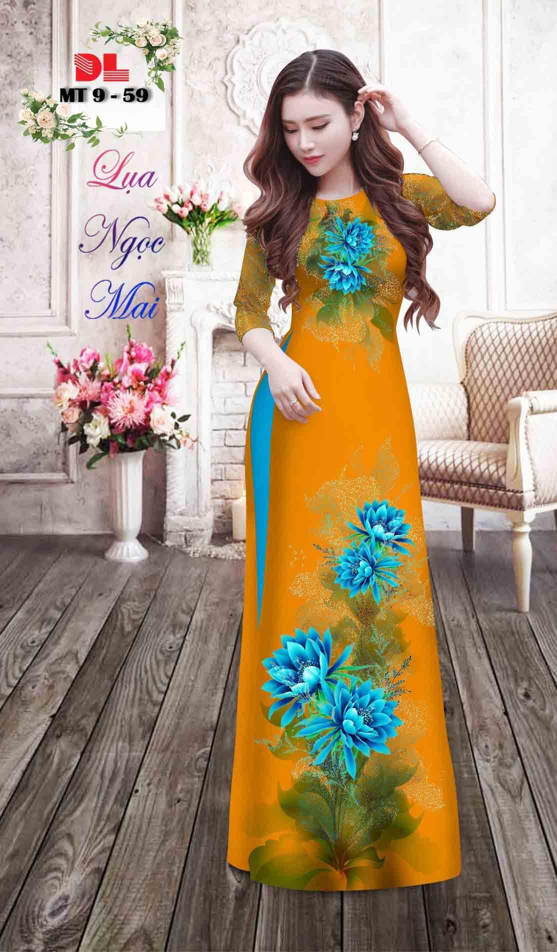 Vải Áo Dài Hoa In 3D AD MT9 32