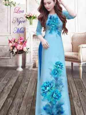 Vải Áo Dài Hoa In 3D AD MT9 21