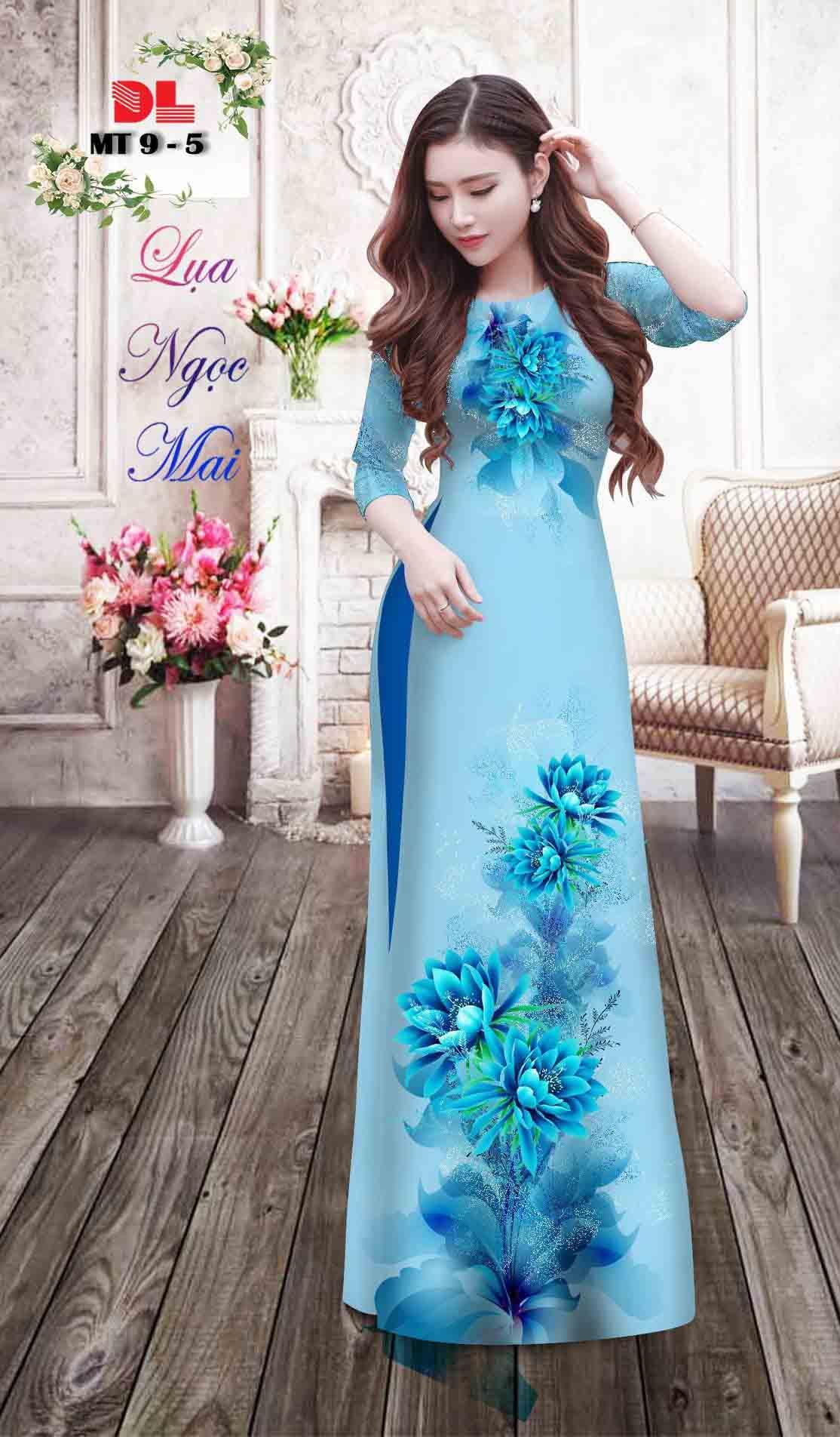 Vải Áo Dài Hoa In 3D AD MT9 36
