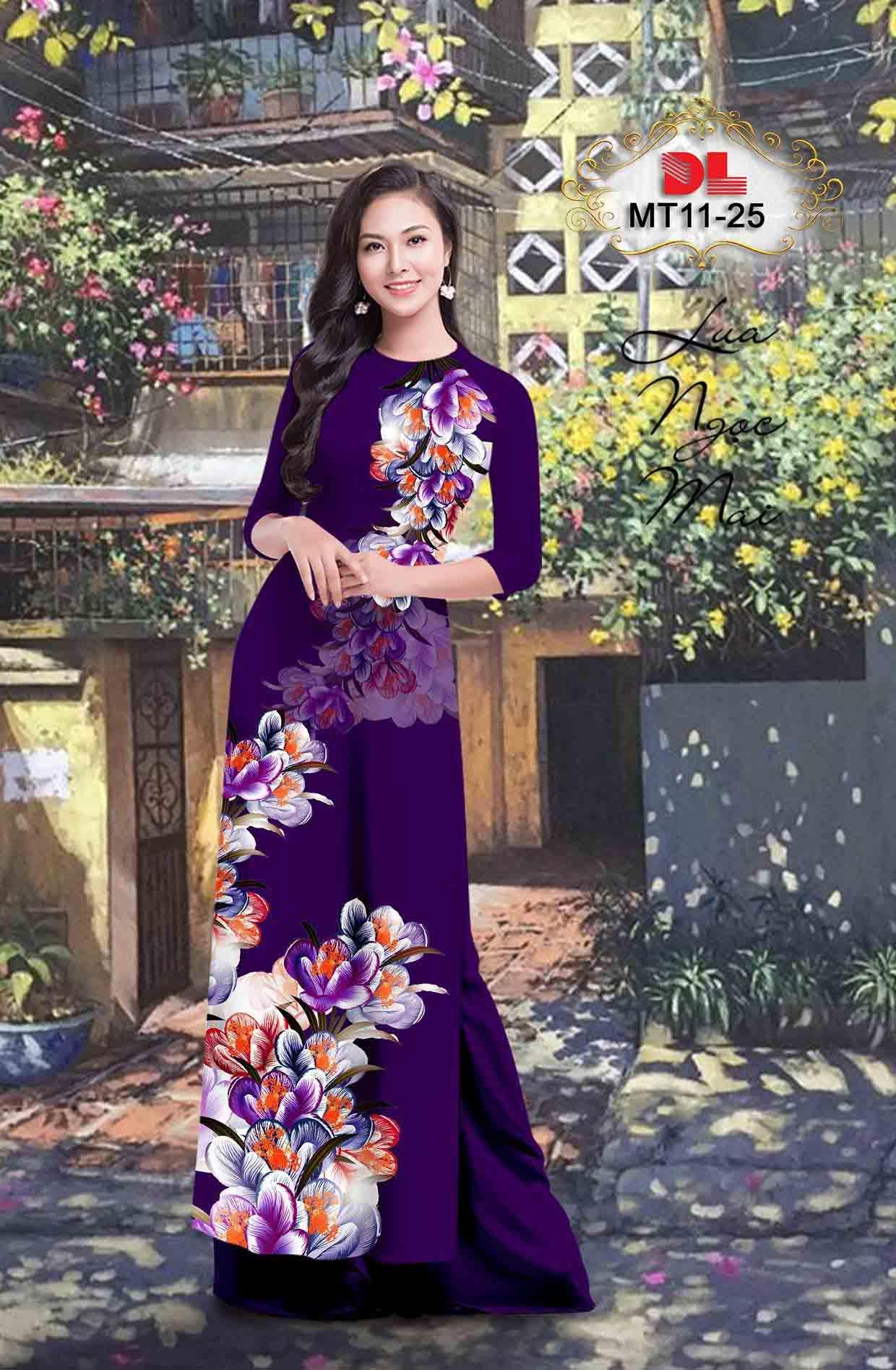 Vải Áo Dài Hoa In 3D AD MT11 54