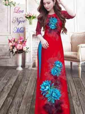 Vải Áo Dài Hoa In 3D AD MT9 23