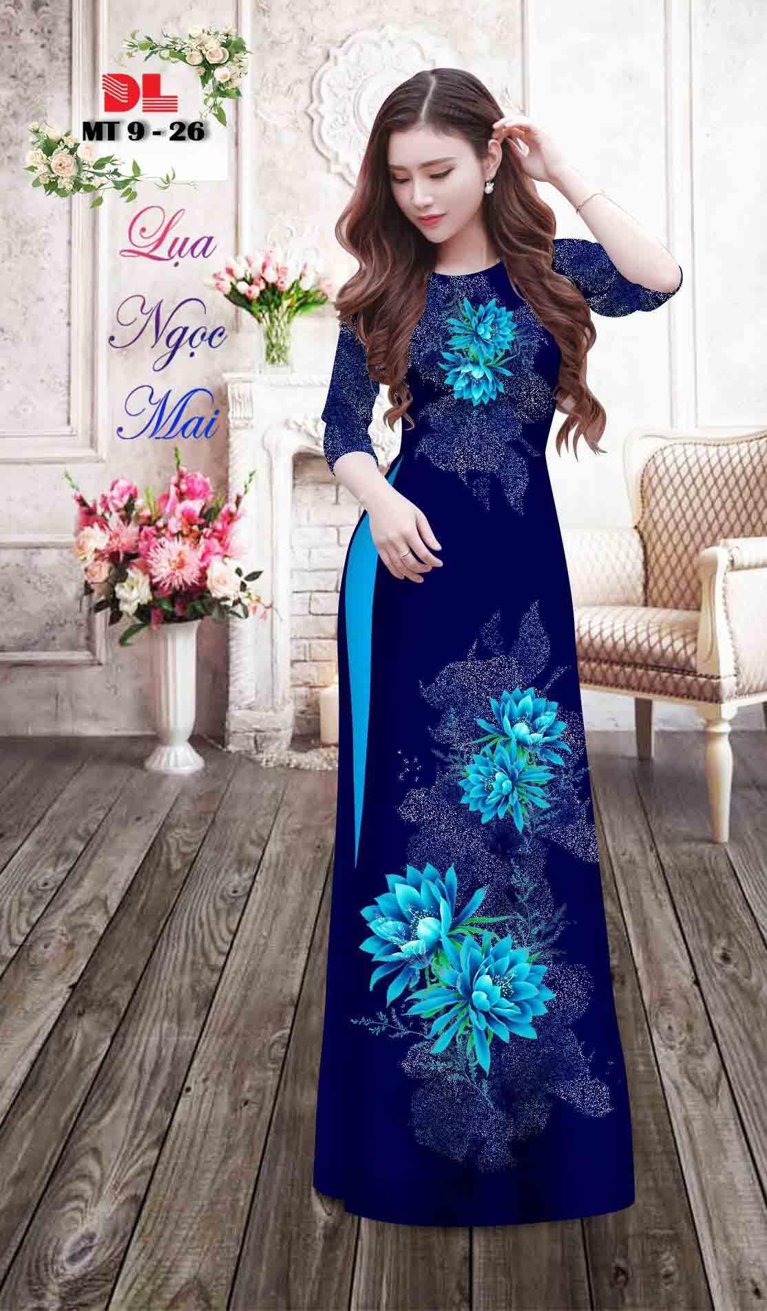 Vải Áo Dài Hoa In 3D AD MT9 41