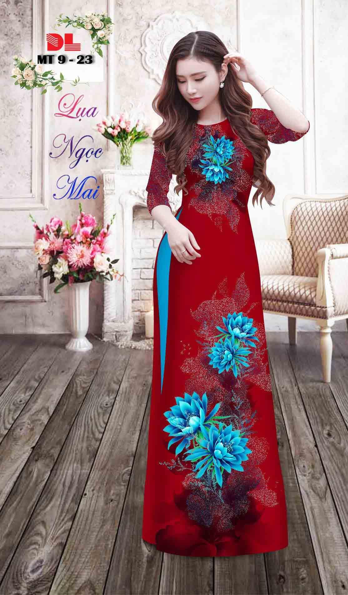 Vải Áo Dài Hoa In 3D AD MT9 40