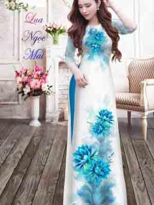 Vải Áo Dài Hoa In 3D AD MT9 19