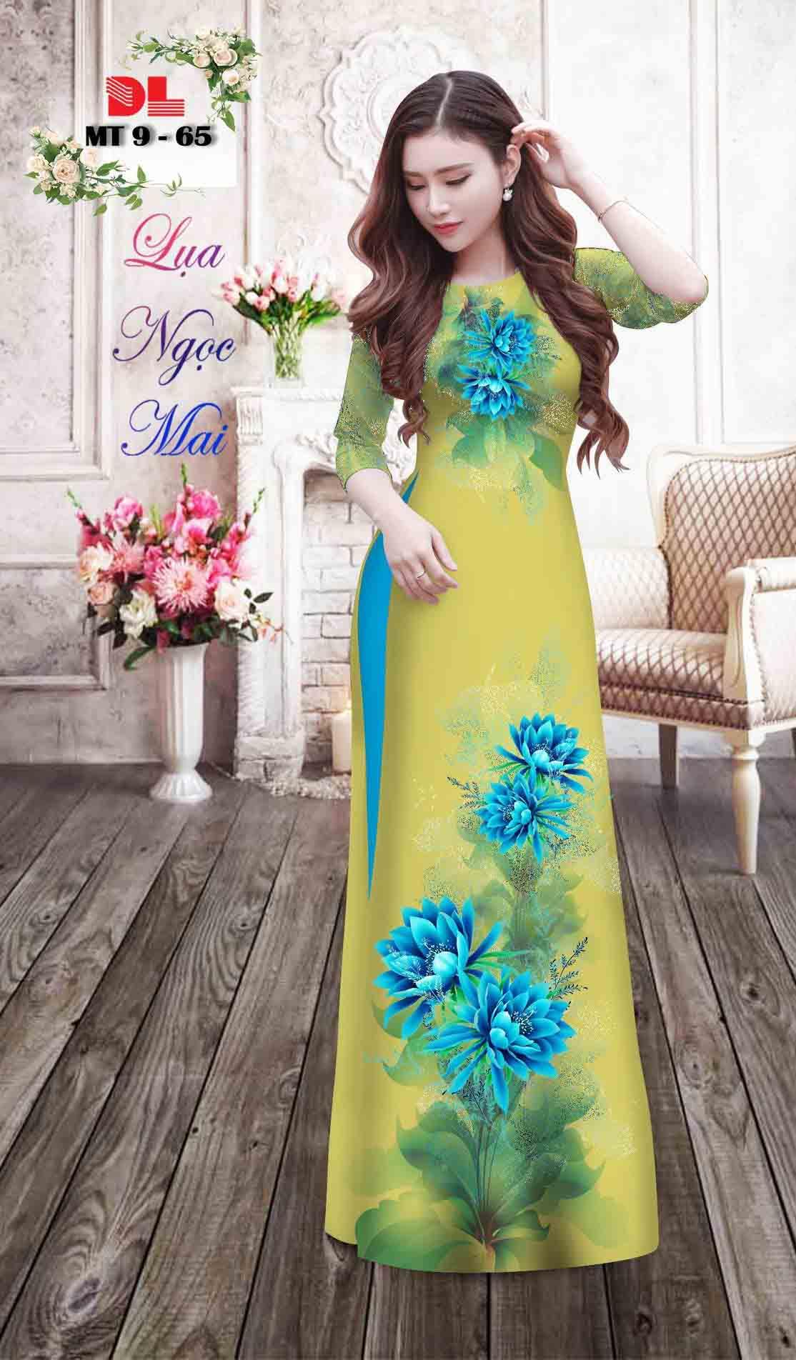 Vải Áo Dài Hoa In 3D AD MT9 33