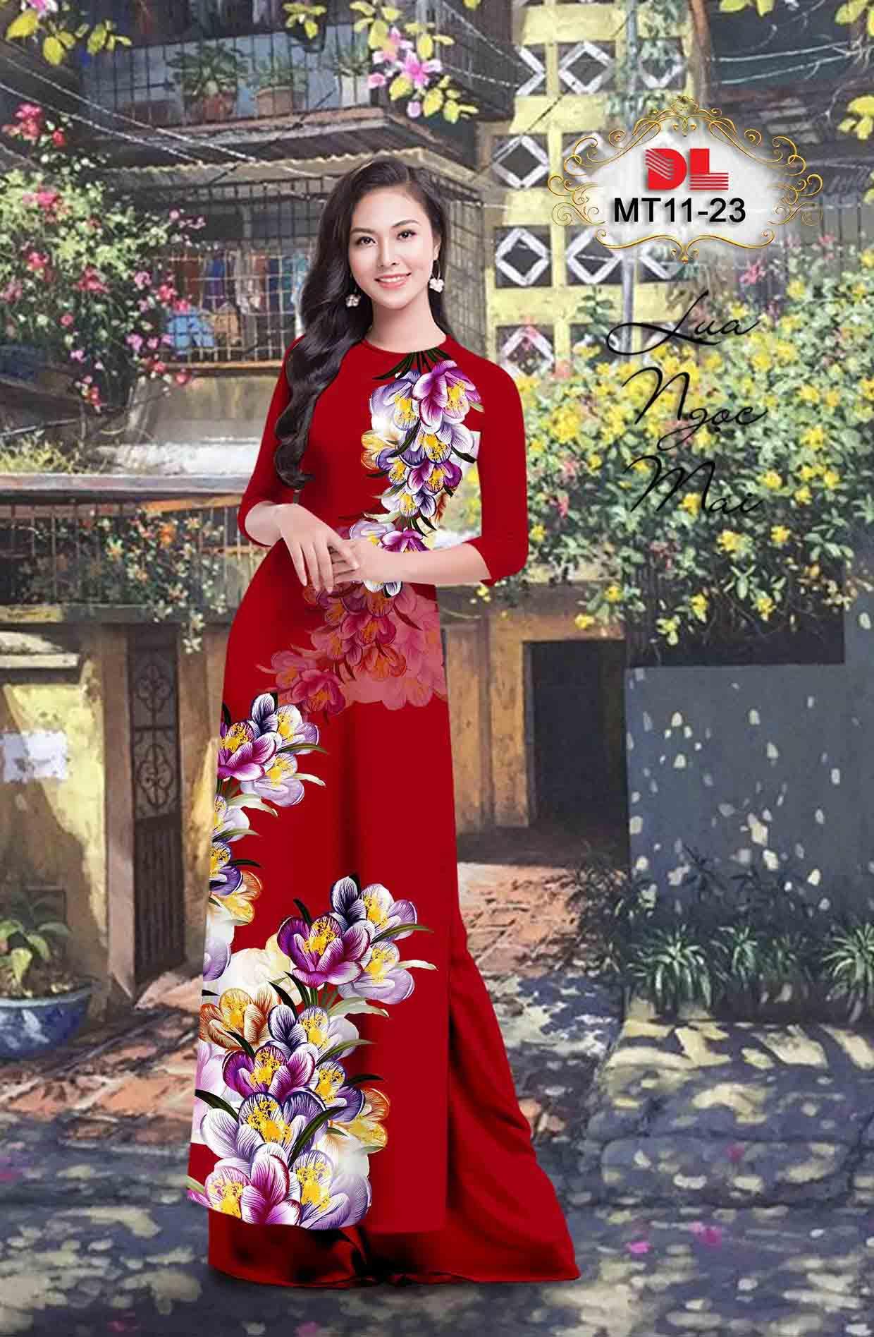 Vải Áo Dài Hoa In 3D AD MT11 53
