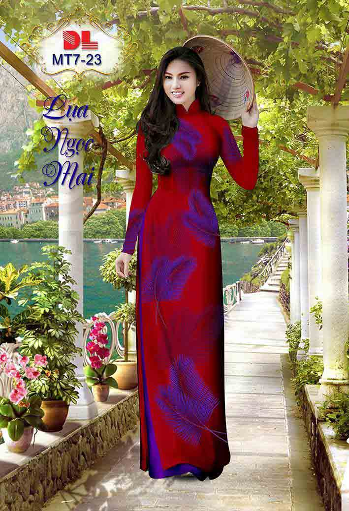 Vải Áo Dài In Hình Lá AD MT7 38