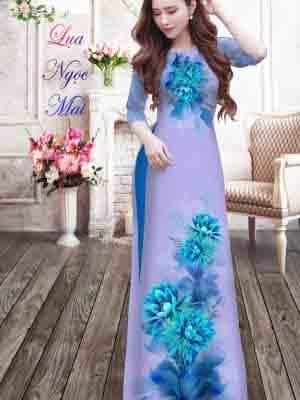 Vải Áo Dài Hoa In 3D AD MT9 20