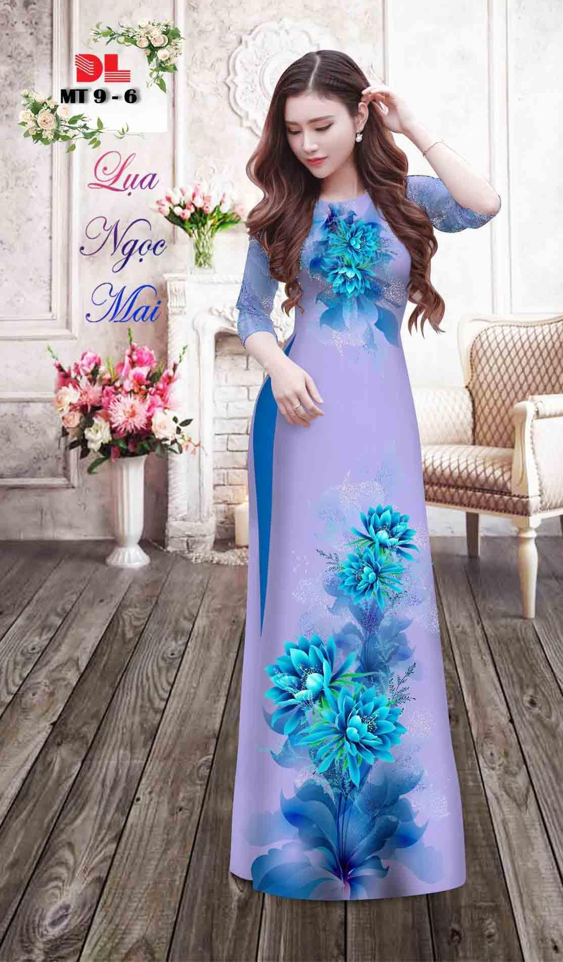 Vải Áo Dài Hoa In 3D AD MT9 35
