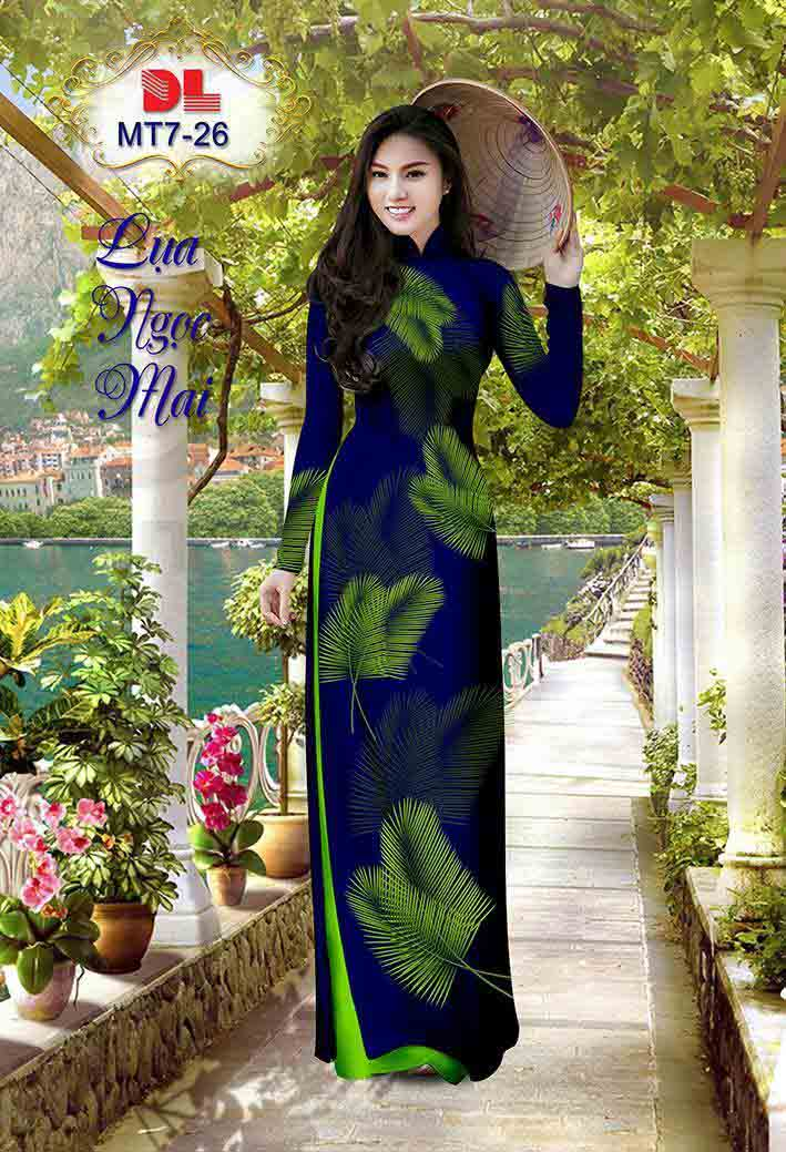 Vải Áo Dài In Hình Lá AD MT7 40