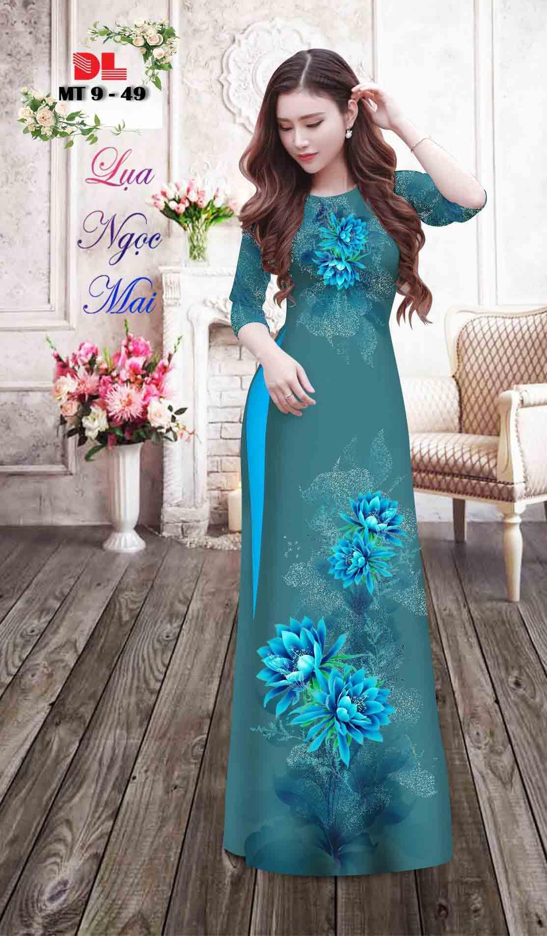 Vải Áo Dài Hoa In 3D AD MT9 29