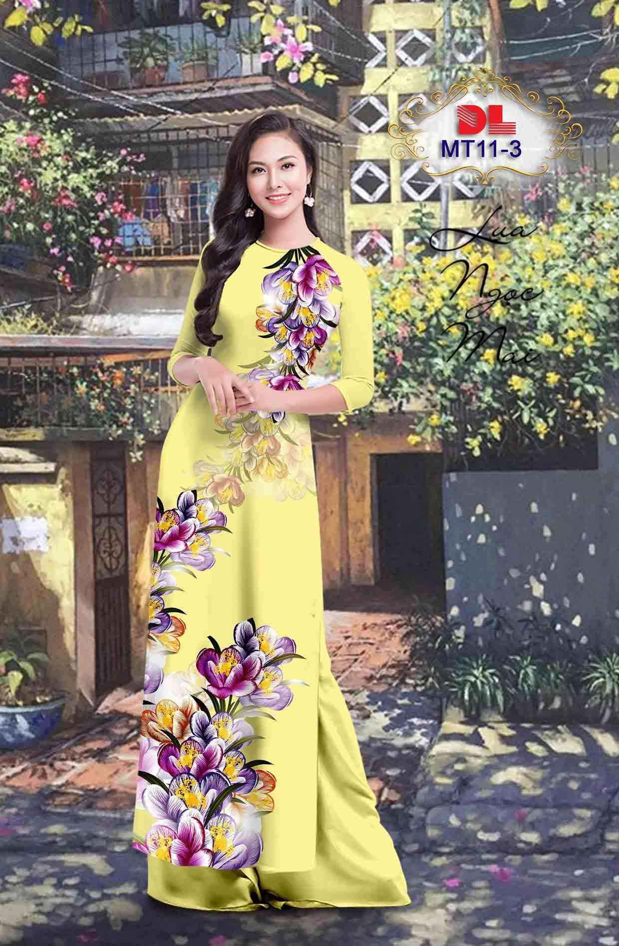 Vải Áo Dài Hoa In 3D AD MT11 42