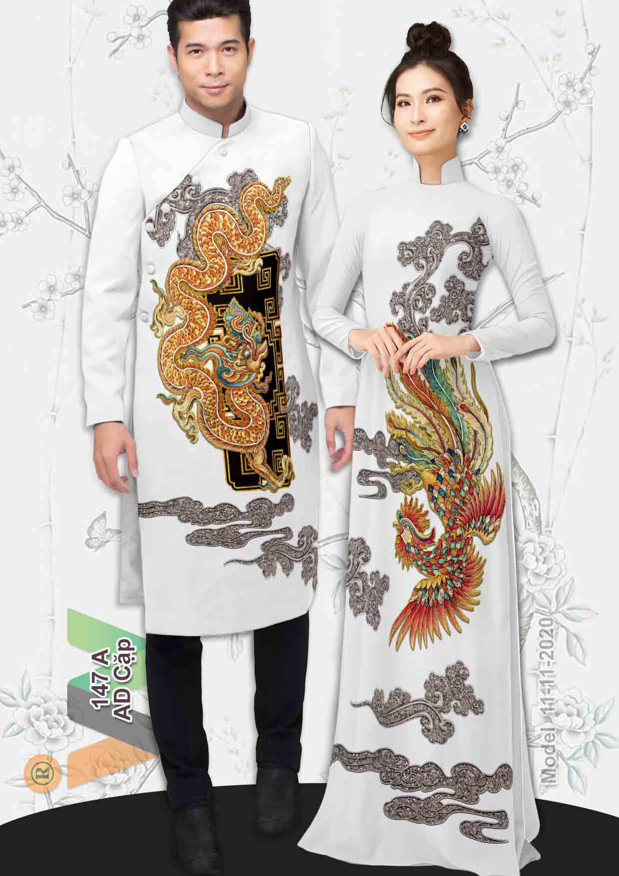 Vải Áo Dài Cặp Đôi Rồng Phụng AD AD IW147 23