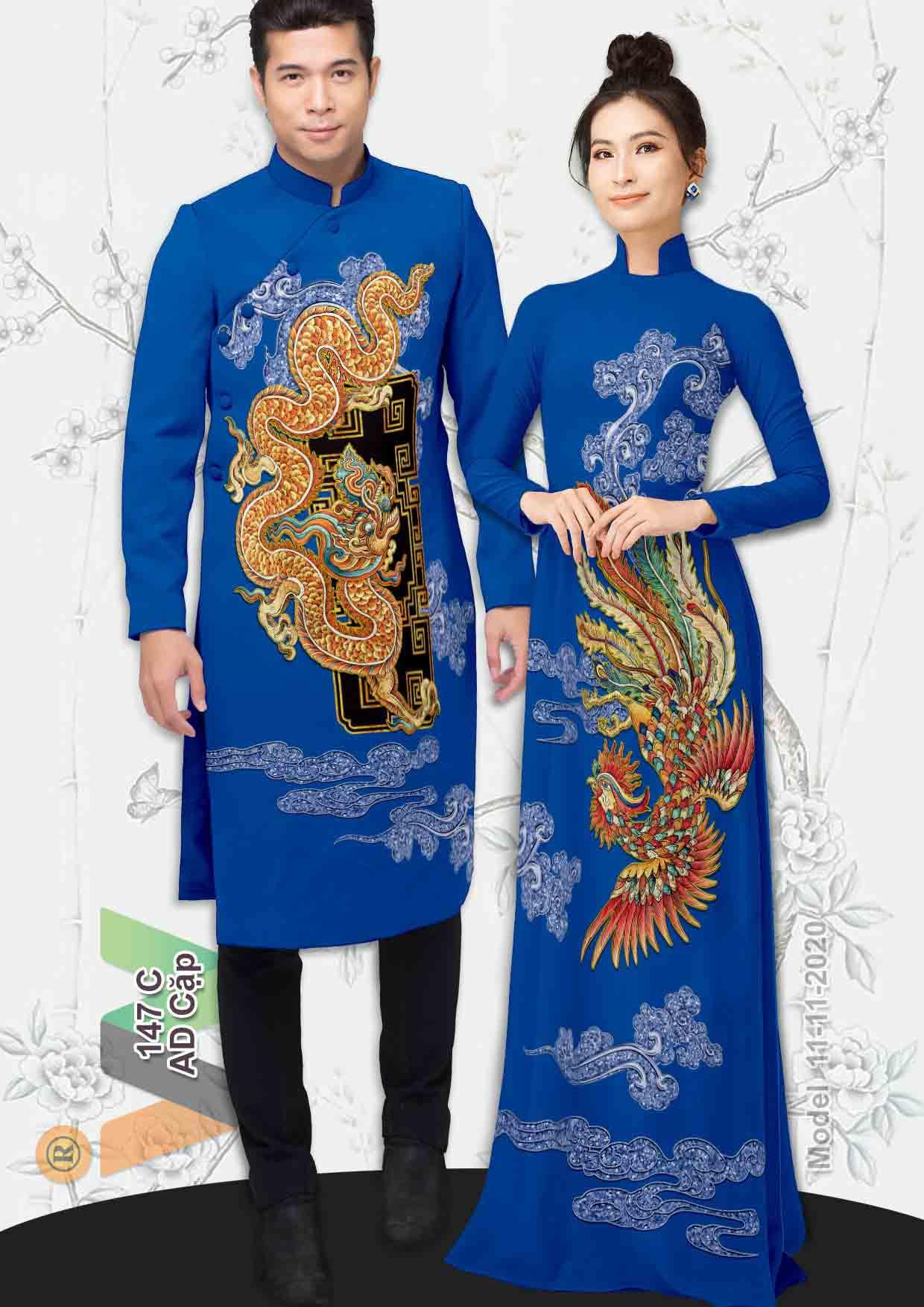 Vải Áo Dài Cặp Đôi Rồng Phụng AD AD IW147 25