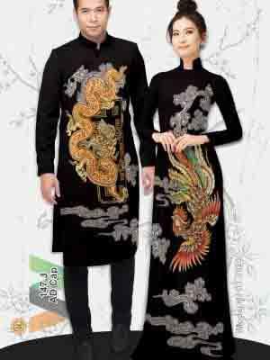 Vải Áo Dài Cặp Đôi Rồng Phụng AD AD IW147 18