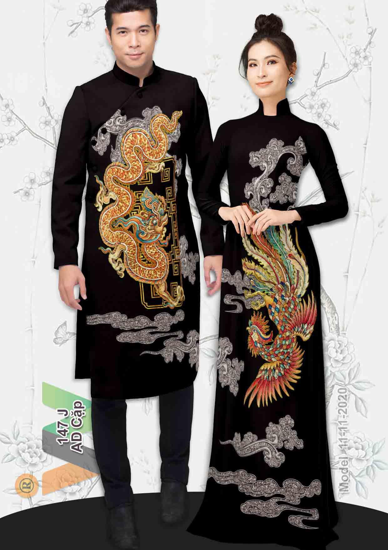 Vải Áo Dài Cặp Đôi Rồng Phụng AD AD IW147 28