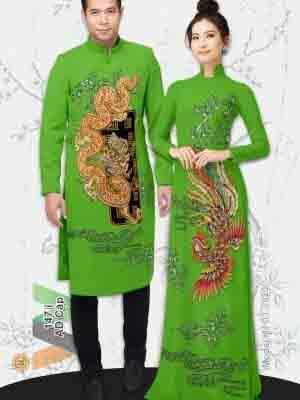 Vải Áo Dài Cặp Đôi Rồng Phụng AD AD IW147 19