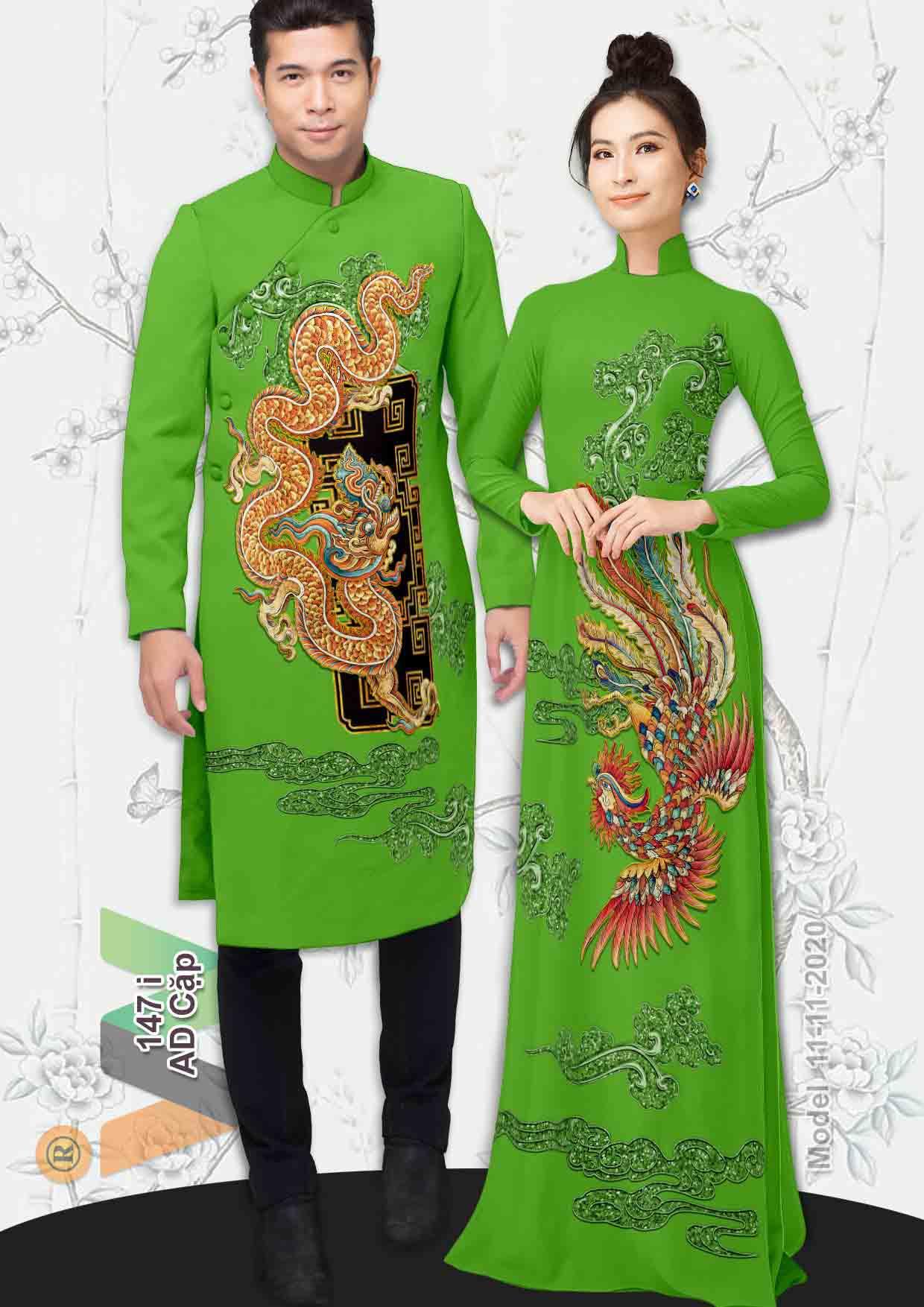 Vải Áo Dài Cặp Đôi Rồng Phụng AD AD IW147 29