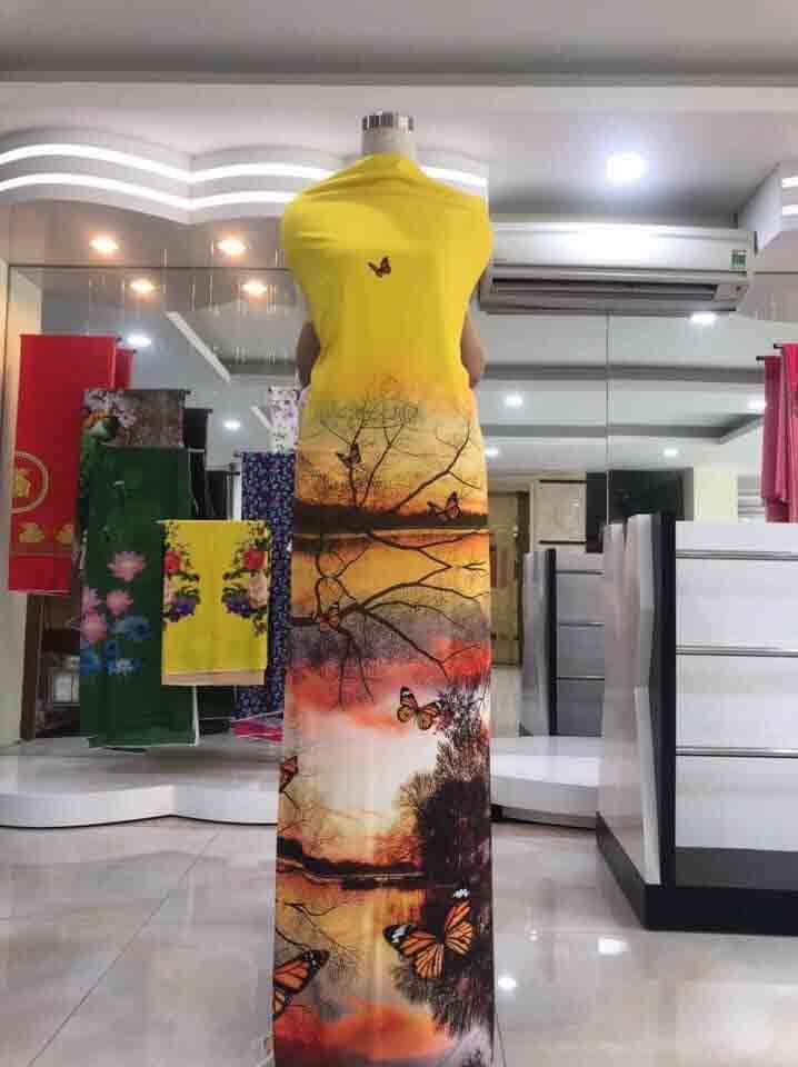 Vải Áo Dài Phong Cảnh Thanh Bình 2