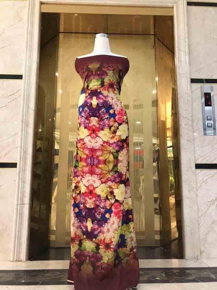 Vải Áo Dài Hoa In 3D Đều 2