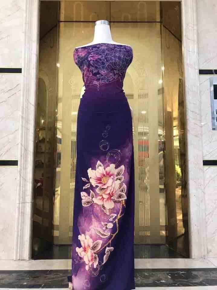 Vải Áo Dài Hoa In 3D Sắc Nét 2