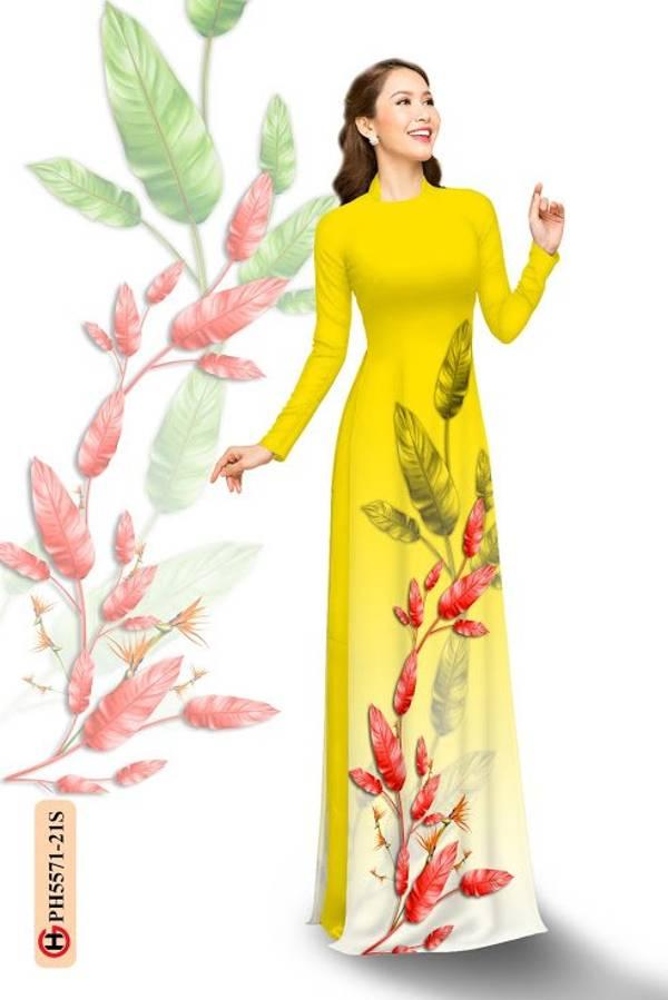 Vải Áo Dài In Hình Lá AD PH5571 6