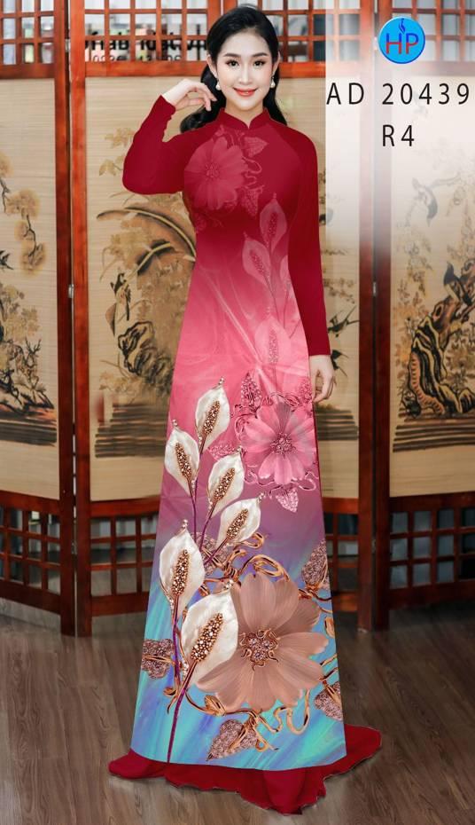Vải Áo Dài Hoa Hồng Môn AD 20439 1