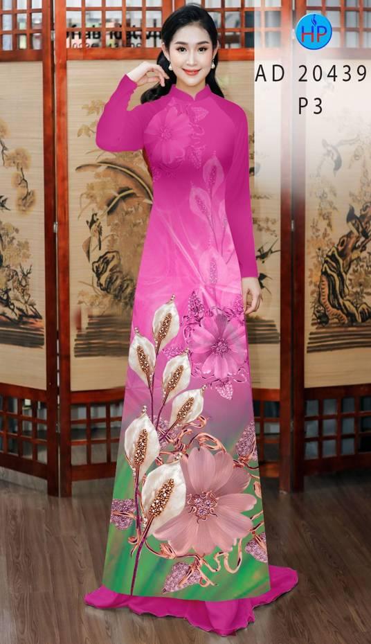 Vải Áo Dài Hoa Hồng Môn AD 20439 2