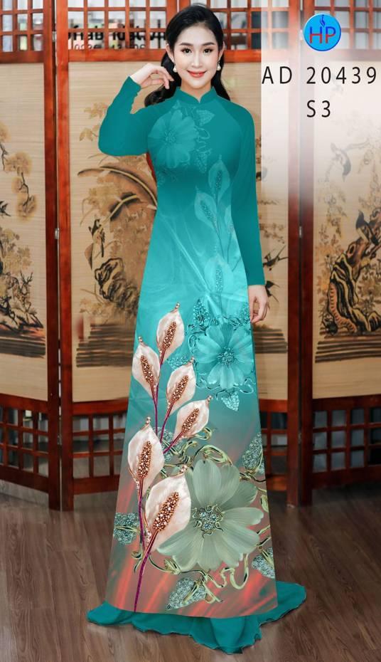 Vải Áo Dài Hoa Hồng Môn AD 20439 3