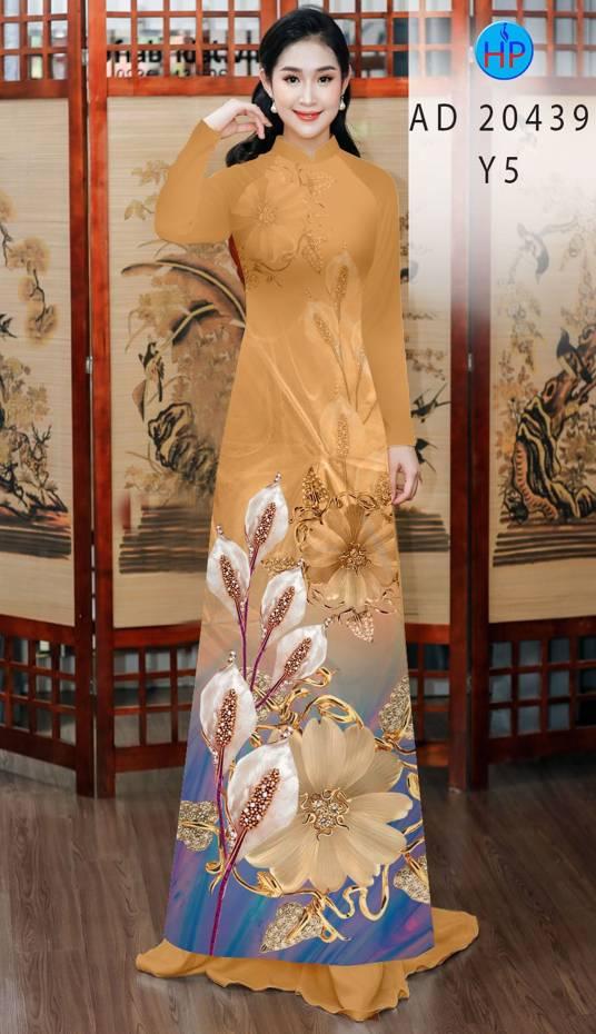 Vải Áo Dài Hoa Hồng Môn AD 20439 5
