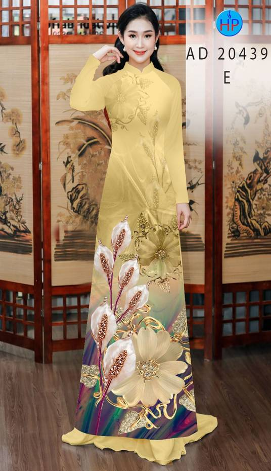 Vải Áo Dài Hoa Hồng Môn AD 20439 8
