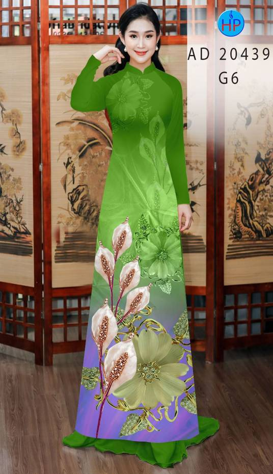 Vải Áo Dài Hoa Hồng Môn AD 20439 16