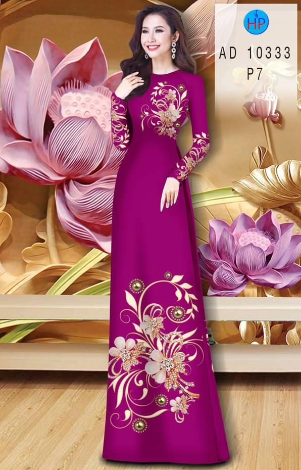 Vải Áo Dài Hoa In 3D AD 10333 39