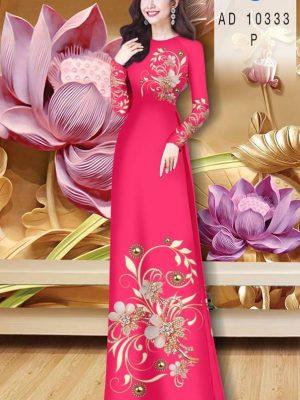 Vải Áo Dài Hoa In 3D AD 10333 20