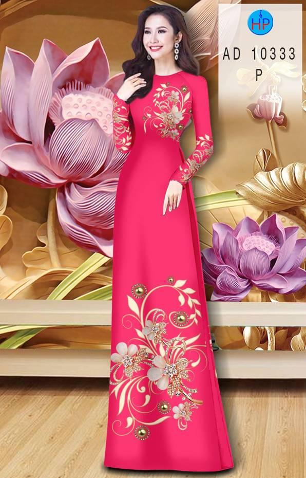 Vải Áo Dài Hoa In 3D AD 10333 1