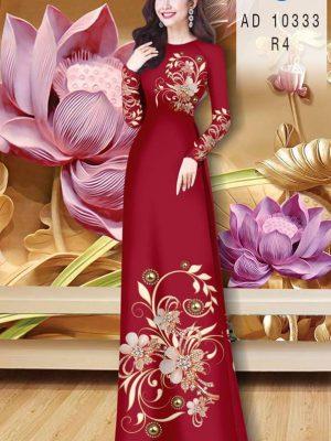 Vải Áo Dài Hoa In 3D AD 10333 21