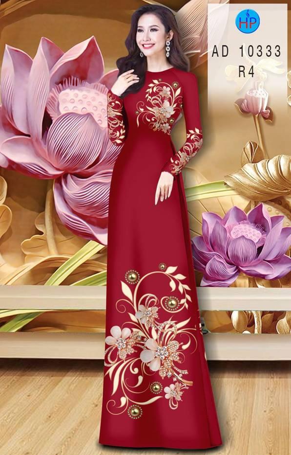 Vải Áo Dài Hoa In 3D AD 10333 2