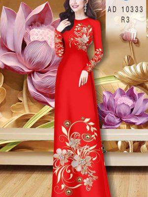 Vải Áo Dài Hoa In 3D AD 10333 22
